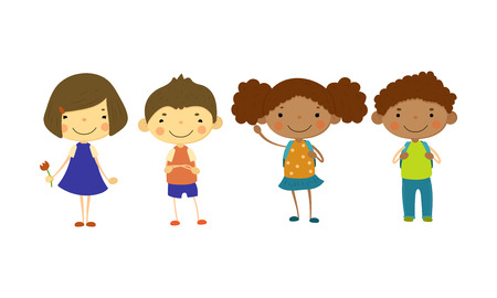 Illustrazione per Cute children of different nationalities set, happy little boys and girls, multinational friendship concept vector Illustration isolated on a white background. - Immagini Royalty Free