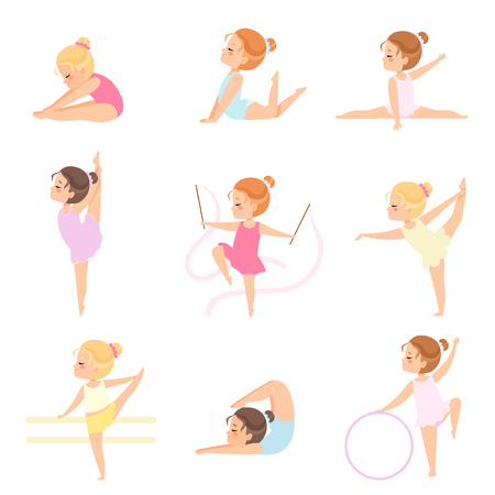 Illustrazione per Cute Little Ballerinas Doing Exercises Set, Girls Gymnasts Characters Training in Leotards Vector Illustration on White Background. - Immagini Royalty Free
