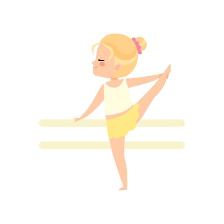 Ilustración de Cute Little Ballerina Dancing Doing Exercise at Barre, Girl Gymnast Character Vector Illustration on White Background. - Imagen libre de derechos