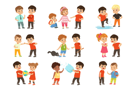 Illustrazione per Brave children characters confronting hooligans set, bad boy bullying a smaller kid vector Illustrations isolated on a white background. - Immagini Royalty Free