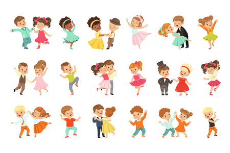 Illustrazione per Couple of little kids dancing set, modern and classical dance performed by children vector Illustrations isolated on a white background. - Immagini Royalty Free