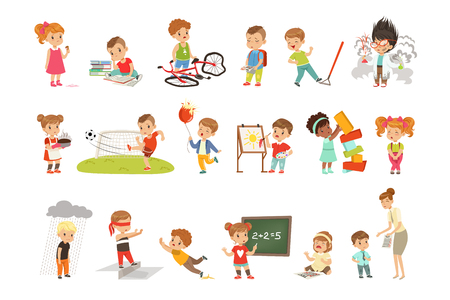 Illustrazione per Childrens failures and mistakes set, frustrated kids experiencing their failures vector Illustrations isolated on a white background. - Immagini Royalty Free