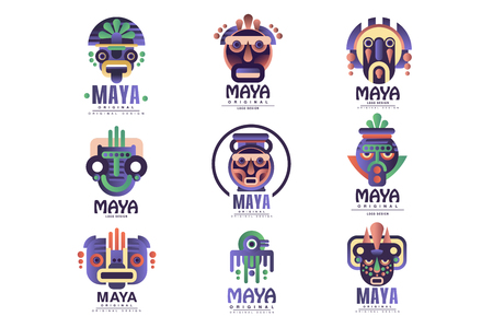 Illustration for Maya logo original design set, emblems with ethnic mask, Aztec signs vector Illustrations on a white background - Royalty Free Image
