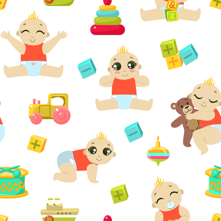 Ilustración de Baby Toddler Character Seamless Pattern, Cute Child in Diaper Playing and Sleeping, Design Element Can Be Used for Fabric, Wallpaper, Packaging, Background Vector Illustration. - Imagen libre de derechos