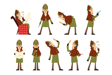 Ilustración de Set with Sherlock in different actions thinking, reading newspaper, smoking pipe, looking into magnifying glass, standing with gun in hand. Detective in hunting cap and raincoat. Flat vector design. - Imagen libre de derechos