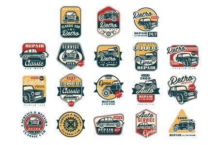 Illustration pour Car repair vintage style labels set, auto service logo, badge vector Illustrations on a white background - image libre de droit