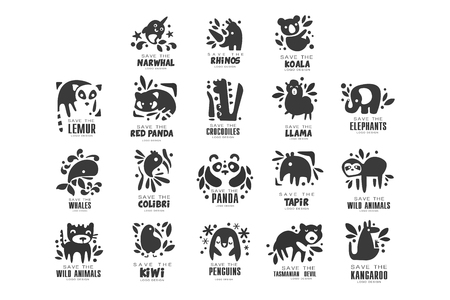 Illustration pour Save wild animal logo design set, protection of african animals black and white sign vector Illustrations on a white background - image libre de droit
