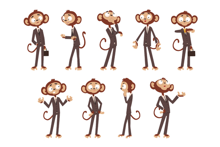 Illustration pour Monkey businessman cartoon character dressed in human suit, funny animal in different poses vector Illustration on a white background - image libre de droit