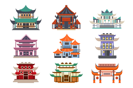 Illustration pour Traditional pagoda buildings set, Asian architecture objects vector Illustrations on a white background - image libre de droit
