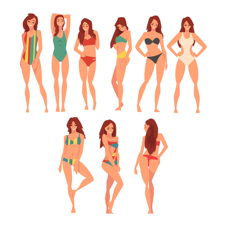 Illustration pour Beautiful Girl in Different Swimsuits Set, Young Woman Wearing Color Bathing Suits, Summer Fashion Vector Illustration on White Background. - image libre de droit