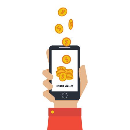 Ilustración de Digital Mobile Wallet, Hand Holding Smartphone, Wireless Money Transfer, People Sending and Receiving Money with Mobile Phone Vector Illustration on White Background. - Imagen libre de derechos
