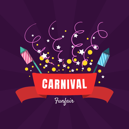 Illustration for Carnival Funfair Banner Template, Amusement Park Poster, Design Element Can Be Used for Invitation Card, Flyer, Coupon Vector Illustration, Web Design - Royalty Free Image