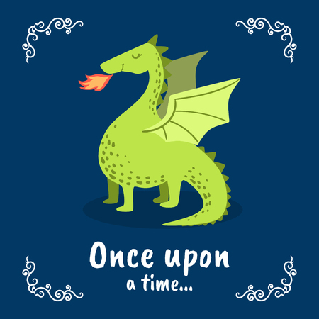 Illustration for Once Upon a Time Banner Template, Fairytale Dragon on Dark Blue Background, Design Element Can Be Used for Invitation Card, Flyer, Poster, Label, Brochure Vector Illustration - Royalty Free Image