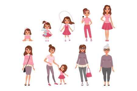 Illustration for Life cycles of woman, stages of growing up from baby to woman vector Illustration isolated on a white background. - Royalty Free Image