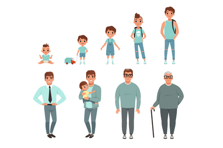Ilustración de Life cycles of man, stages of growing up from baby to man vector Illustration isolated on a white background. - Imagen libre de derechos