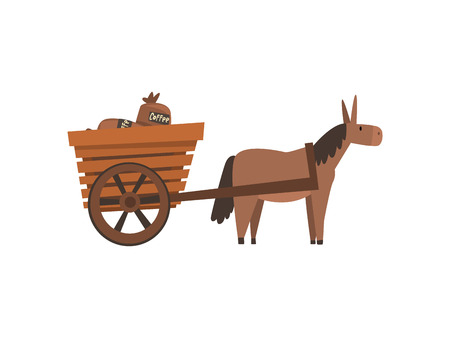 Illustration pour Donkey Pulling Wooden Cart with Coffee Bags, Coffee Industry Production Stage Vector Illustration on White Background. - image libre de droit