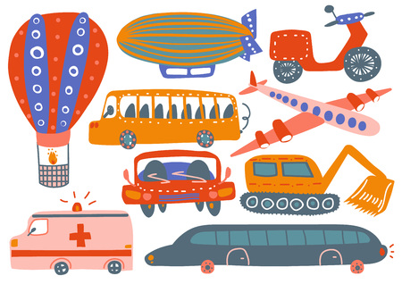 Illustration pour Collection of Various Transport Vehicles, Hot Air Balloon, Airship, Plane, Ambulance Car, Excavator, Bus, Motorbike Cartoon Vector Illustration - image libre de droit