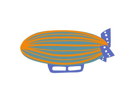 Illustration pour Cute Vintage Airship, Air Vehicle Cartoon Vector Illustration on White Background. - image libre de droit