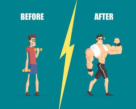 Ilustración de Weak and Muscular Men, Man Before and After Training, Demonstration of Progress in Training - Imagen libre de derechos