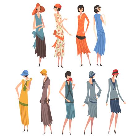 Illustration for Elegant Woman in Retro Dresses Set, Beautiful Girls of 1920s, Art Deco Style Vector Illustration on White Background. - Royalty Free Image