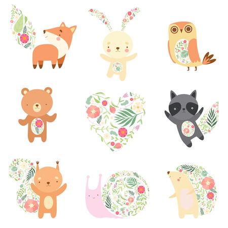 Ilustración de Cute Animals Decorated with Floral Seamless Pattern Set, Lovely Forest Animals Cartoon Characters Vector Illustration - Imagen libre de derechos