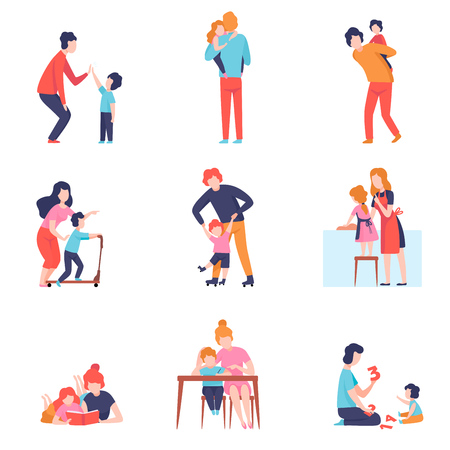 Illustrazione per Parents Having Good Time with Kids Set, Mother and Father Teaching and Playing with Sons and Daughters Vector Illustration on White Background. - Immagini Royalty Free
