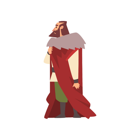 Illustration for Majestic Nobleman in Historical Costume, European Medieval Character Vector Illustration on White Background. - Royalty Free Image