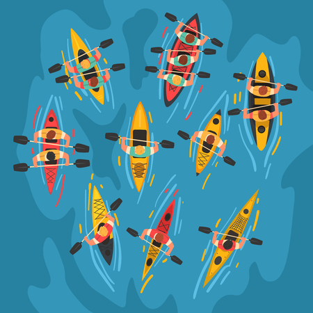 Ilustración de Athletes Paddling Kayaks Set, Kayaking Water Sport, Outdoor Activities in Summertime, Top View Vector Illustration, Cartoon Style - Imagen libre de derechos