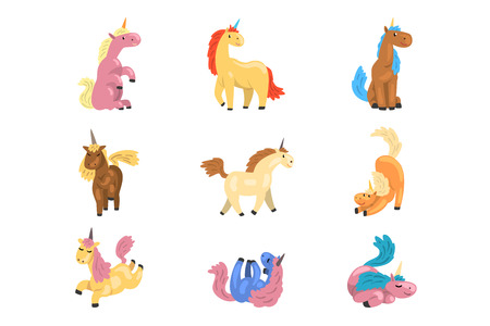 Illustration for Collection of adorable unicorns in different actions. Cute mythical animal with single horn. Funny cartoon characters. Elements for postcard, children book or game. Isolated flat vector illustrations. - Royalty Free Image