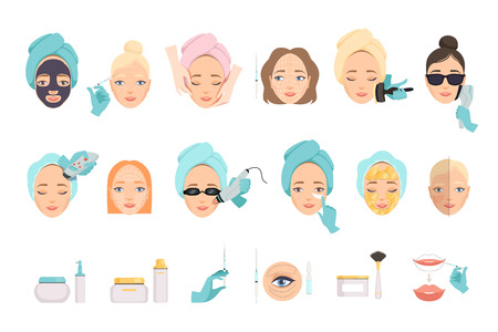 Illustration pour Types of procedures for facial rejuvenation and products for face care. Cosmetology and beauty industry theme. Flat vector icons - image libre de droit
