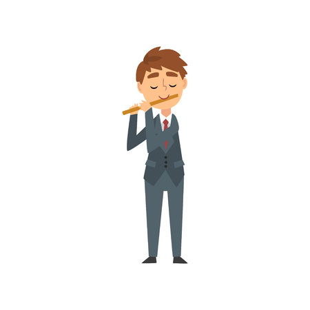 Illustration for Boy Playing Flute, Talented Young Flutist Character Playing Musical Instrument at Concert of Classical Music Vector Illustration on White Background. - Royalty Free Image