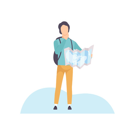 Illustration pour Young Man with Backpack Standing and Exploring Terrain on Map Vector Illustration on White Background. - image libre de droit
