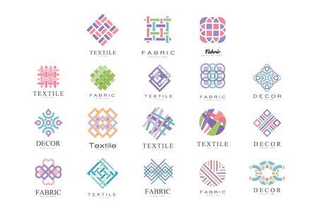 Illustration pour Textile, Fabric, Decor Logo Design Set, Tailor Shop, Sewing, Tailoring Industry Design Element Vector Illustration - image libre de droit