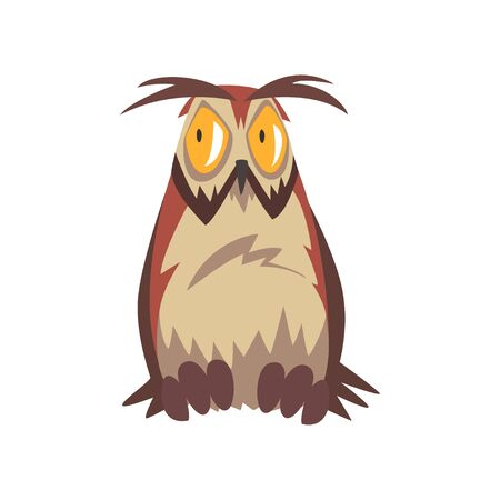 Illustration pour Eagle Owl Bird with Open Eyed, Great Horned Owl Character with Brown Plumage Vector Illustration on White Background. - image libre de droit