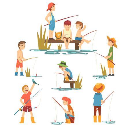 Ilustración de Cute Boys Fishing with Fishing Rods Set, Little Fishermen Cartoon Characters Vector Illustration - Imagen libre de derechos