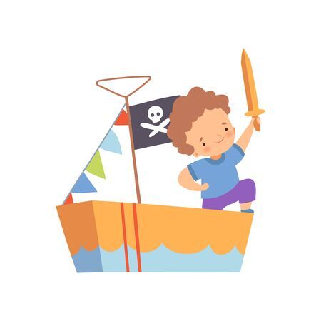 Illustration for Creative Boy Character Playing Pirates, Cute Kid Playing Ship Made of Cardboard Boxes Cartoon Vector Illustration on White Background. - Royalty Free Image