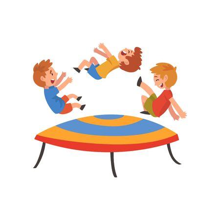 Ilustración de Boys Jumping on Trampoline, Happy Trampolining Kids Playing and Having Fun Cartoon Vector Illustration on White Background. - Imagen libre de derechos