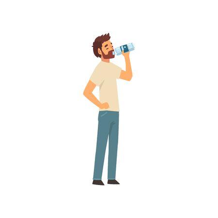 Ilustración de Bearded Young Man Drinking Water from Plastic Bottle, Guy in Casual Clothes Enjoying Drinking of Fresh Clean Water Vector Illustration - Imagen libre de derechos