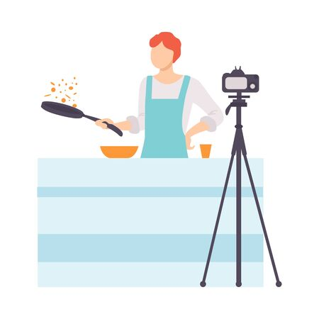 Illustrazione per Man Cooking at Kitchen and Recording Video on Camera, Male Food Blogger Creating Content about His Hobby and Posting It on Social Media Vector Illustration on White Background. - Immagini Royalty Free