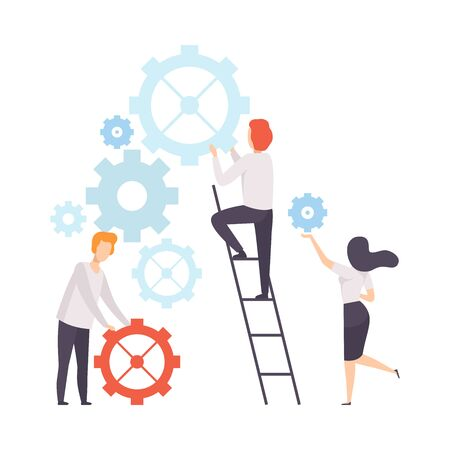 Ilustración de Business Team, Office Colleagues Constructing Mechanism, People Working Together in Company, Teamwork, Cooperation, Partnership Vector Illustration on White Background. - Imagen libre de derechos
