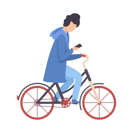 Illustrazione per Young Man Using Smartphone While Riding Bicycle, Cycling Guy Exercising, Relaxing or Going to Work Vector Illustration - Immagini Royalty Free