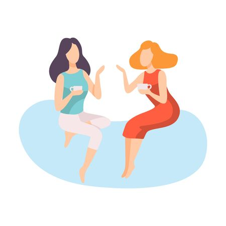 Ilustración de Two Young Women Dressed in Stylish Clothing Sitting and Talking, People Speaking to Each Other Vector Illustration on White Background. - Imagen libre de derechos