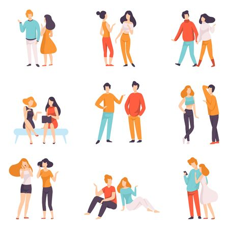 Illustration pour People Speaking to Each Other Set, Young Men and Women Dressed in Casual Clothing Talking Vector Illustration on White Background. - image libre de droit
