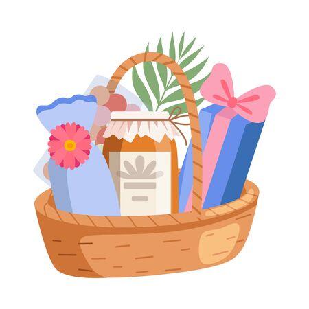 Illustration for Holiday Present Basket Full of Gifts, Birthday, Xmas, Wedding, Anniversary Celebration Design Element Vector Illustration on White Background. - Royalty Free Image
