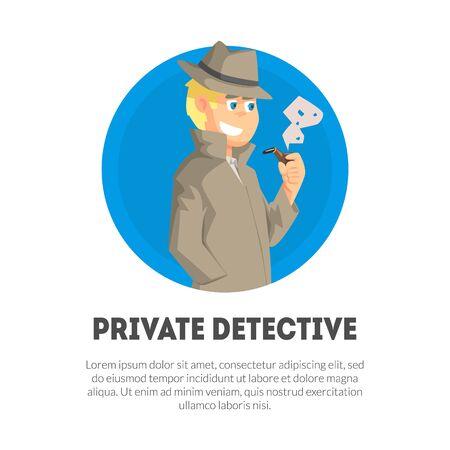 Ilustración de Private Detective Banner Template, Police Inspector, Professional Surveillance Work Vector Illustration, Web Design. - Imagen libre de derechos