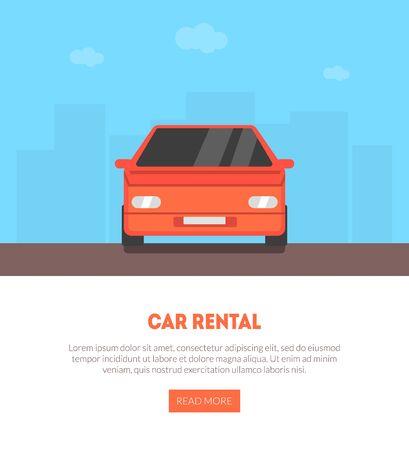 Illustration pour Car Rental Landing Page with Place for Text, Renting, Selling, Leasing Auto Service Business Vector Illustration, Web Design. - image libre de droit