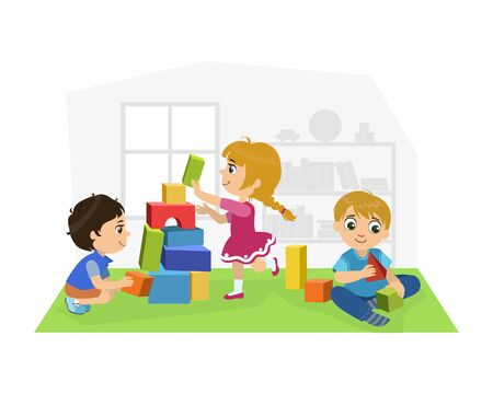 Illustration pour Cute Boys and Girl Sitting on Floor and Playing with Blocks in Playroom, Kids Kindergarten Activities Vector Illustration - image libre de droit