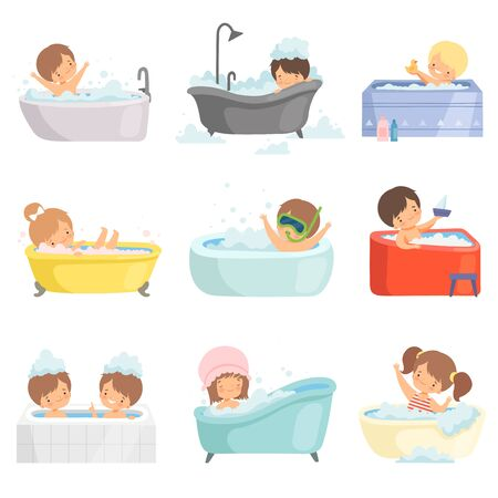 Illustration pour Cute Little Kids Bathing and Having Fun in Bathtub Set, Adorable Boys and Girls in Bathroom, Daily Hygiene Vector Illustration on White Background. - image libre de droit