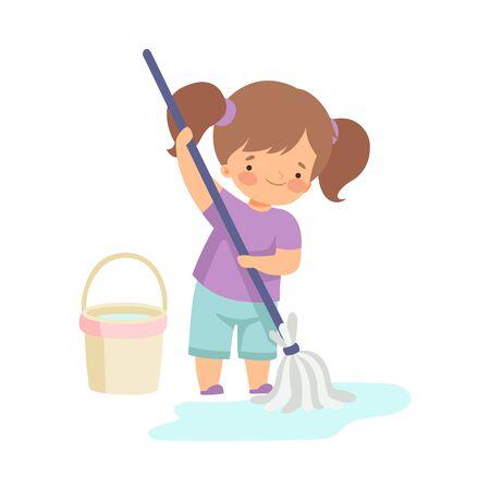 Ilustración de Cute Girl Washing the Floor with Bucket and Mop, Adorable Kid Doing Housework Chores at Home Vector Illustration on White Background. - Imagen libre de derechos