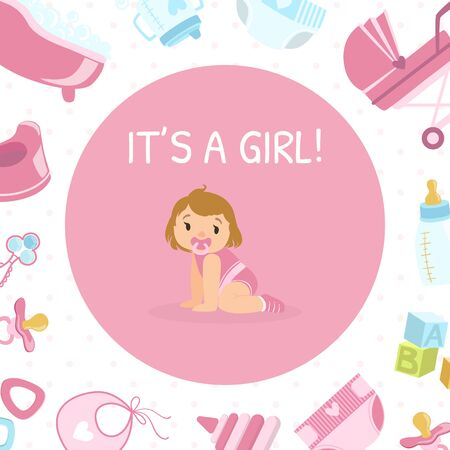 Illustration pour Its Girl, Baby Shower Invitation Banner Template, Pink Card with Cute Little Girl and Newborn Baby Symbols Seamless Pattern Vector Illustration, Web Design. - image libre de droit